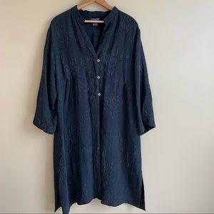 Citron Black Brocade Kimono Duster 100% Silk XL